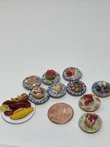 Dollhouse Miniatures 1:12 Artisan Food Lot Of 10 PCs. Lobster Dinner, Desserts.