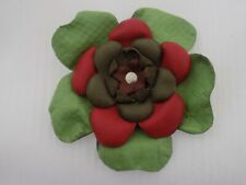 Vintage Faux Leather Multi Color Flower Collar Clip/Brooch #6713