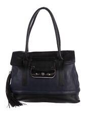 DVF DIANE VON FURSTENBERG Blue Black leather HARPER LAUREL Shoulder Bag
