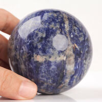 508g 72mm Large Natural Blue Sodalite Quartz Crystal Sphere Healing Ball Chakra