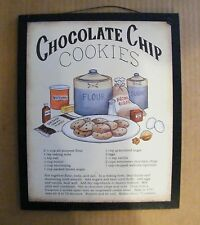 """9x11"""" CHOCOLATE CHIP RECIPE wood country kitchen wall home decor Sign 2XBlk"""