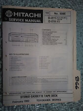 Hitachi d-e11 e19 service manual original repair book stereo deck tape player