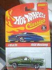 Hot Wheels Classics Series 1 1968 Ford Mustang Olive Green Minty Goodyear tires