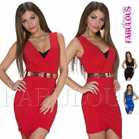 New Sexy European Belted Wrap Style Envelope Mini Dress V-Neck Size 8 10 S / M