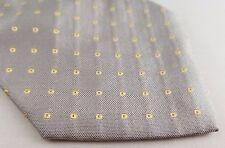 "Altea Italian Made All Silk Tie -Light Grey & Yellow Geometric - 58"" L 3.75"" W"