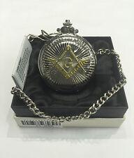 Argento con Oro Cresta Massonica Orologio da taschino NUOVO di zecca in confezione regalo