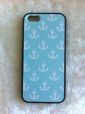 Aqua Background White Anchors Printed iPhone 5/5s  Case PC & TPU for Apple