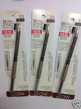 3 X L'Oreal Brow Stylist Professional 3-in-1 Brow Tool // Medium dark Brown #331
