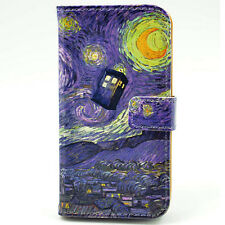 Tardis Doctor Who Starry Night Van Gogh Leather Wallet Flip Case For Iphone 5 5S
