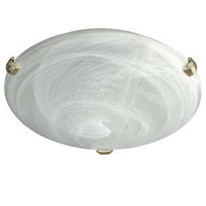 Flush Ceiling Light With Alabaster Glass Shade With Brass OR Chrome Clips - 60W