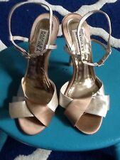 Ladies Size 7M Cream & Bronze Satin Stiletto BADGLEY MISCHKA Sandals
