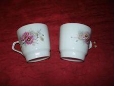 Kaffeetasse, Marke Coldnitz, 2 Stück, gebraucht, weiß mit Blumen, Goldrand, mit