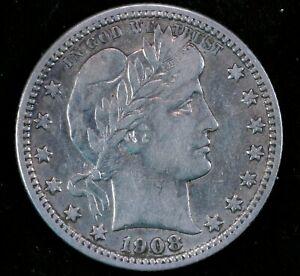 1908-O 25c Barber Quarter Dollar Silver U.S Coin New Orleans Mint