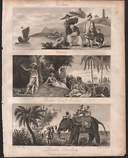 1810 ANTIQUE PRINT -  COSTUME, CHINESE MALABAR COAST PERSIANS, 3 IMAGES