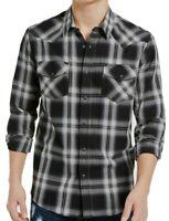 Sun + Stone Mens Shirt Black Size Medium M Western Plaid Button Snap $45 #063