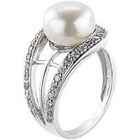 Silber-Ringe: Eleganter Zirkonia-Ring mit Süßwasser-Perle, Gr. 54 (Ø 17,2 mm)