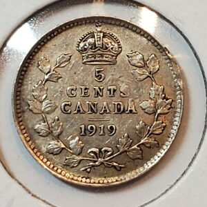 1919 Canada 5 five cents SILVER - COMBINED SHIPPING - C5-043