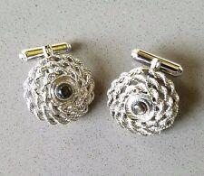 Star sapphire cufflinks ebay vintage sterling silver cufflinks black star sapphire circular rope wedding sciox Image collections