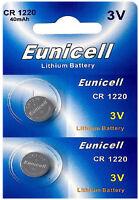 2 x CR1220 3V Lithium Knopfzelle 40 mAh ( 1 Blistercard a 2 Batterien)Eunicell
