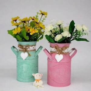 Vintage Shabby Chic Flower Vase Tin Pitcher Jug Metal Wedding Home Adorn