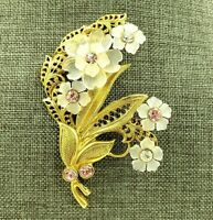 Vintage Spray Brooch Molded Lucite Rhinestone Flower Bouquet Pin Gold Tone