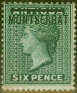Montserrat 1876 6d Blue-Green SG3 Fine & Fresh Mtd Mint Brandon Certificate Rare