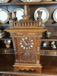 Very rare Black forest 3 horn Trumpeter clock