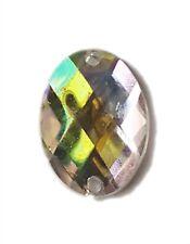 18x12mm Oval CLEAR AB Coated Iridescent Foil Flat Back Sew On Acrylic Gems Bead