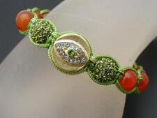 $18 *W Stones & Beads* Orange Jade & Evil Eye Beaded Shamballa Crystal Bracelet