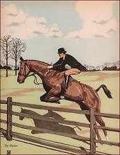 HUNTER HORSE Jumping Fence by James Cannon, vintage print, authentic 1938