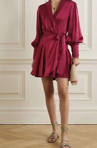 Zimmermann Burgundy Ruffled silk-charmeuse dress - Size Medium/2 - RRP £495
