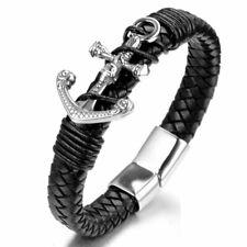 MENDEL Mens Viking Nautical Leather Anchor Bracelet Wristband Stainless Steel