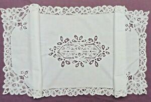 Vintage Rectangular White Linen & Lace Table Runner.  Hand Made.