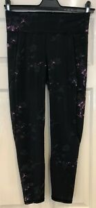 Sweaty Betty Zero Gravity black with pink floral fitness leggings Size M fab