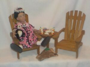 """2 Wood Adirondack Chairs & Table W/Extras Great Size For 11"""" Leeann Dolls"""