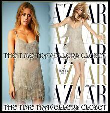 LTD Topshop Kate Moss Gold Silver Beaded Fringe 20s Vtg Flapper Dress UK14 42 10