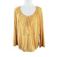 NWT American Rag Cie Womens size L Yellow Top Flowy Boho 3/4 Sleeves $49.50 MSRP