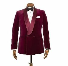 Burgundy Men's Double Breasted Velvet Wedding Groom Tuxedos Groomsman New Suits