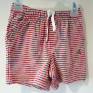 BNWT Baby Gap Red/Gray Stripe Cotton Knit Shorts Boy's Size 6-12 Month