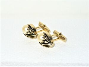 Vintage Men's Cuff Links Gold Tone with Large Faux Pearl Setting