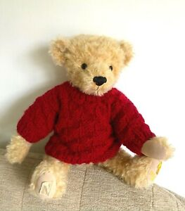 "+TEDDY CLOTHES+ hand knitted Cranberry basket stitch jumper to suit a 14"" bear"