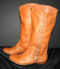 Women's Genuine Deerskin Dress Boots SIZE 7 NARROW BERSHKA Fawn EUC EU SIZE 37