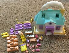 Blue Box Polly Pocket Tiny Dreams Carry Along Doll House And Furniture Lot Of 34