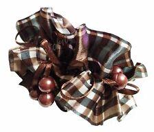 #N6 Wide Hair Scrunchie BROWN Scott Haargummi Bead Ponytail Holder Donut Band