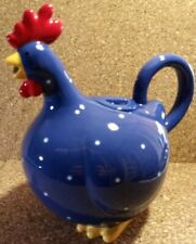 Sur La Table Blue And White Polka Dot Chicken Hen Small Tea Pot, Pitcher, Jug