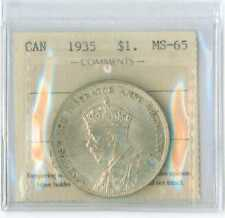 1935 Canada Silver Dollar  ICCS MS 65 NICE !! First Year