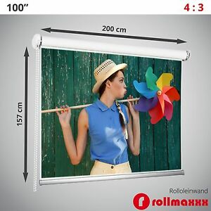 "100"" Rolleinwand Beamerleinwand Beamer Leinwand Projektionsleinwand 4:3 200x157"