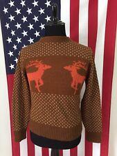 vtg 80s Reindeer Nordic Acrylic Sweater mens MEDIUM elk boho christmas xmas 8611
