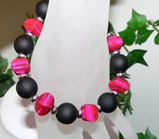 MODESCHMUCK ARMSCHMUCK Armband SEIDENMATT Kissen PERLEN Schwarz pink weiss 372g
