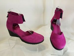 Arche Fuchsia Pink Leather Wedge Ankle Wrap Comfort Shoes Women's Size 36  US 5